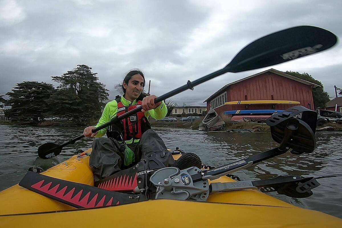 Ahmet Ustunel, 38, kayaks at the Berkeley Aquatic Park, Wednesday, Feb. 28, 2018, in Berkeley, Calif. He was born in Turkey with Retinoblastoma, a type of eye cancer, but no one noticed until it was too late. He�s fully blind. He is now training to kayak the Bosporus, a natural strait that separates Asian Turkey from European Turkey.