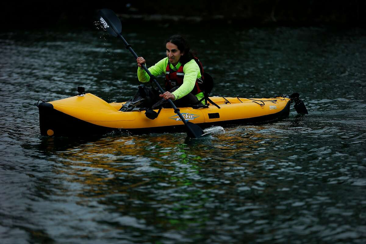 Ahmet Ustunel, 38, kayaks at Lake Merced, Wednesday, Feb. 28, 2018, in San Francisco, Calif. He was born in Turkey with Retinoblastoma, a type of eye cancer, but no one noticed until it was too late. He�s fully blind. He is now training to kayak the Bosporus, a natural strait that separates Asian Turkey from European Turkey.