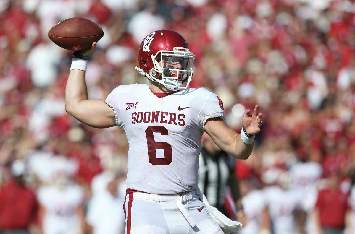 Oklahoma quarterback Baker Mayfield threw for at least 3,700 yards in three consecutive seasons.