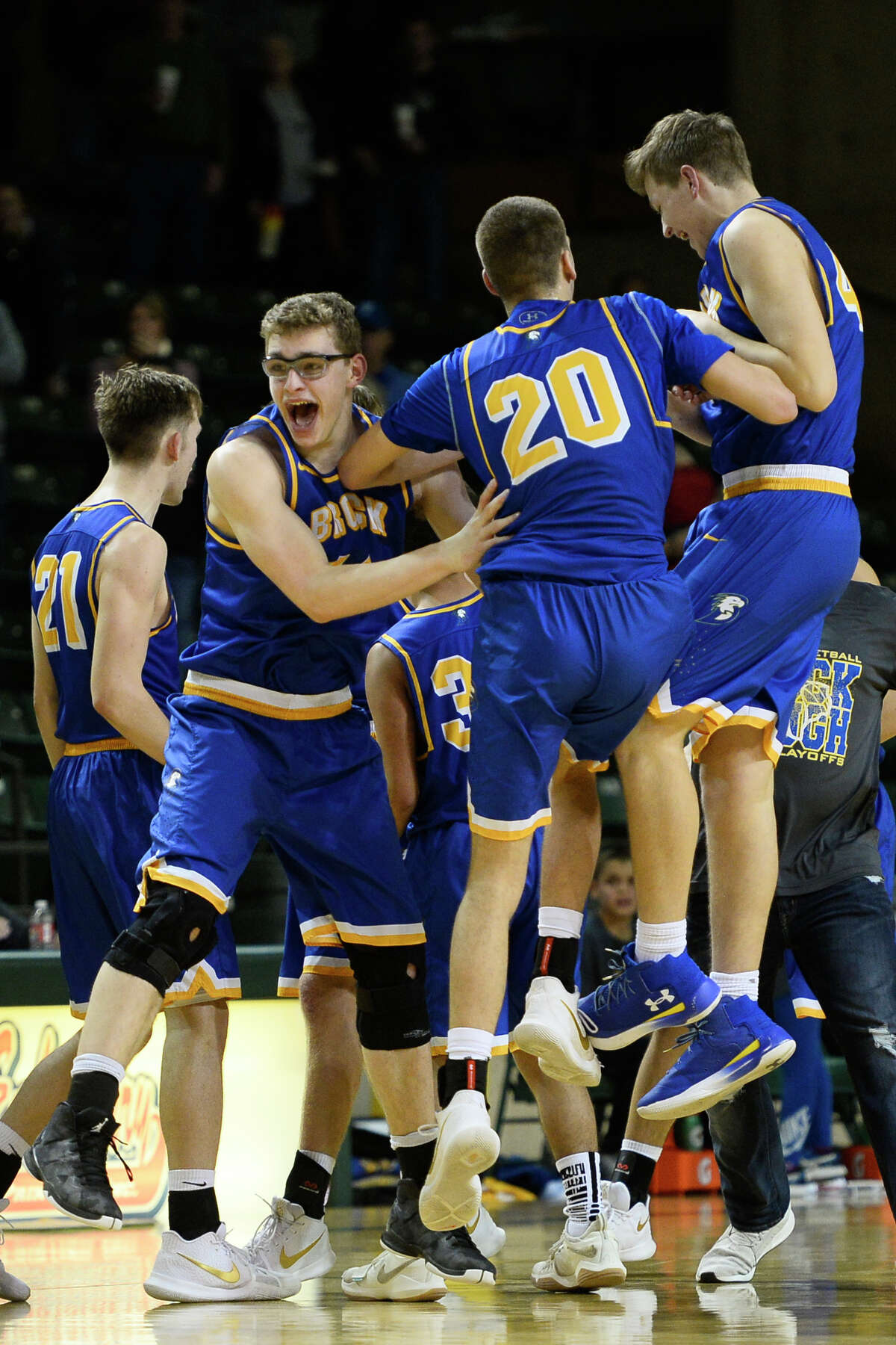 Brock players react to a win against Shallowater in the Region I-3A semi final game March 2, 2018, at Chaparral Center. James Durbin/Reporter-Telegram
