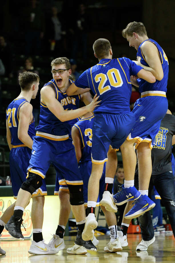 Brock players react to a win against Shallowater in the Region I-3A semi final game March 2, 2018, at Chaparral Center. James Durbin/Reporter-Telegram Photo: James Durbin