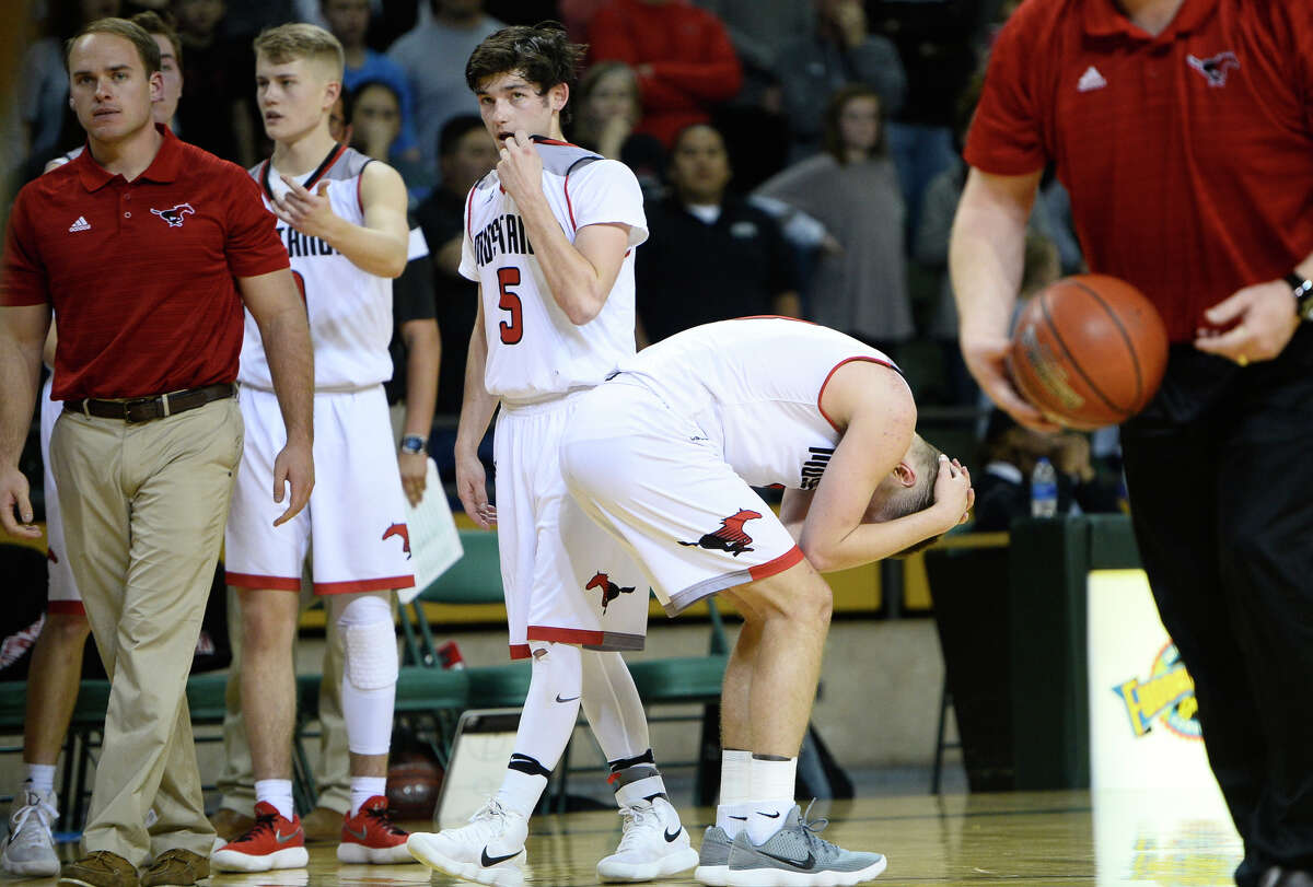 Shallowater players react to a loss against Brock in the Region I-3A semi final game March 2, 2018, at Chaparral Center. James Durbin/Reporter-Telegram