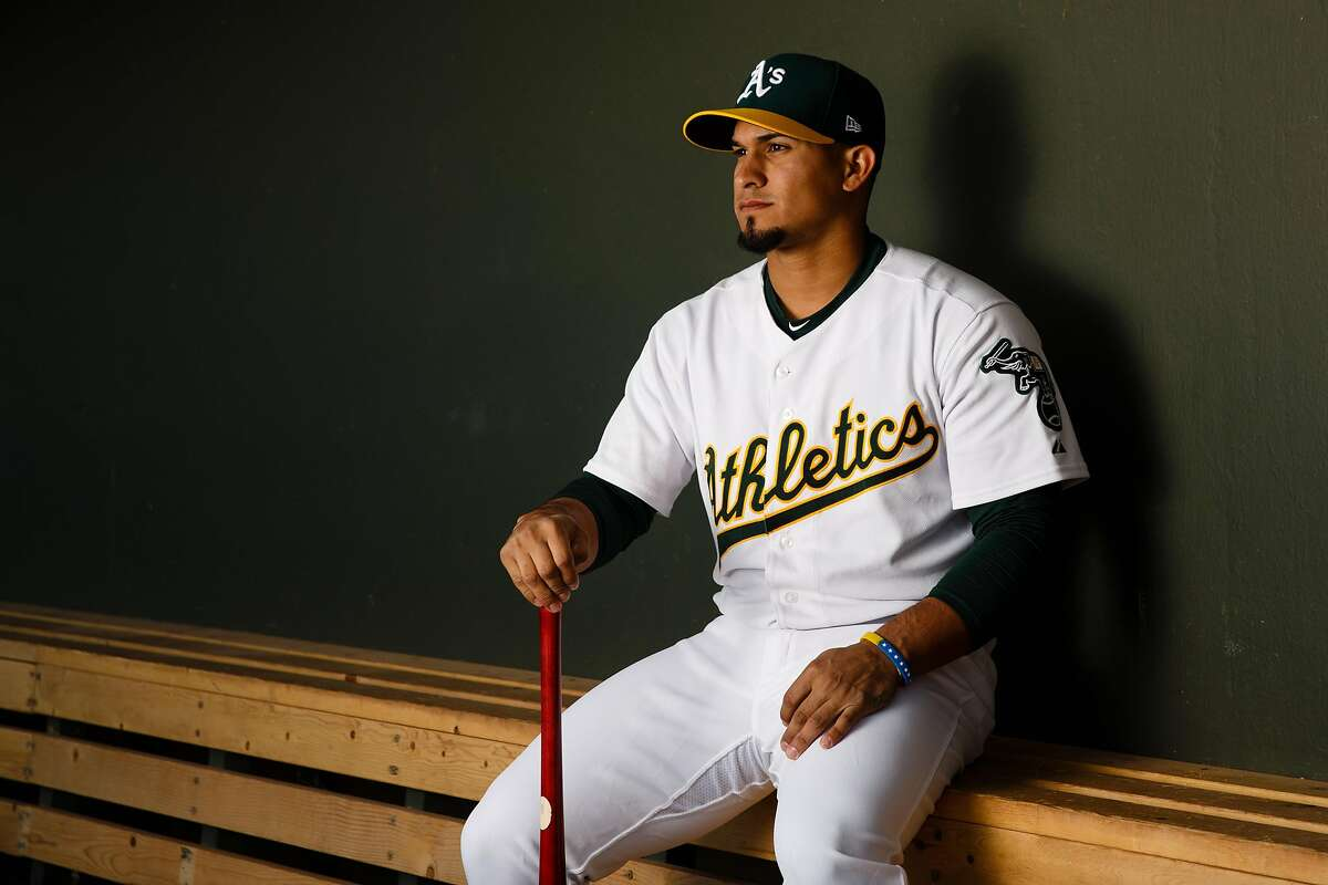 MESA, AZ - FEBRUARY 22: Franklin Barreto #1 of the Oakland Athletics poses for a portrait during photo day at HoHoKam Stadium on February 22, 2018 in Mesa, Arizona. ~~