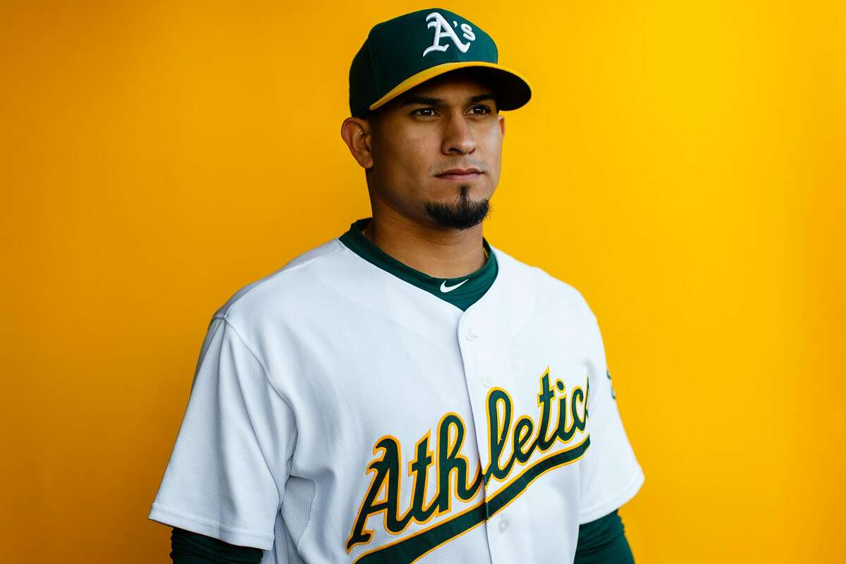 MESA, AZ - FEBRUARY 22: Franklin Barreto #1 of the Oakland Athletics poses for a portrait during photo day at HoHoKam Stadium on February 22, 2018 in Mesa, Arizona. (Photo by Justin Edmonds/Getty Images)