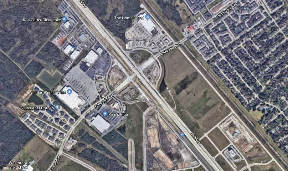 A man is dead after being struck by a vehicle while he charged his car battery along the Gulf Freeway feeder road Friday night. Photo: Google Maps