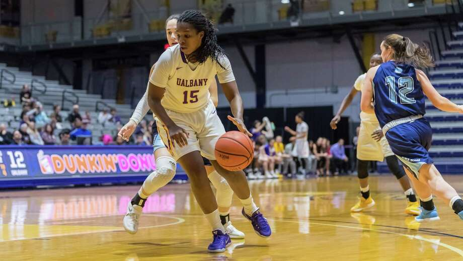 Jessica Fequiere of UAlbany dribbles the ball during a 68-54 victory over Maine on Saturday, Jan. 13, 2018. (Bill Ziskin / UAlbany Athletics) Photo: Bill Ziskin / © Bill Ziskin Photography LLC