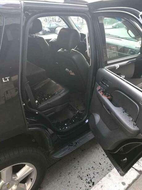 The San Francisco firefighters union tweeted this photo of the break-in of union chief Tom O'Connor's vehicle near City Hall.