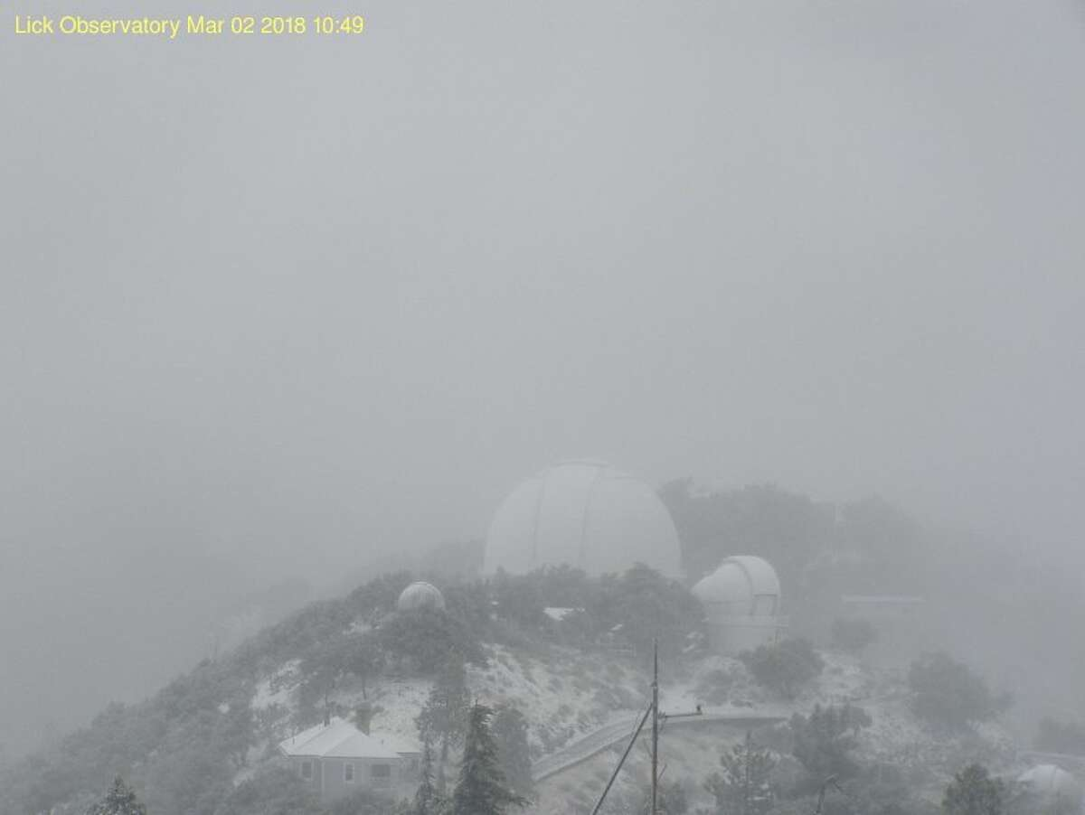 Snowy day atop Mount Hamilton at the Lick Observatory on March 2, 2018.