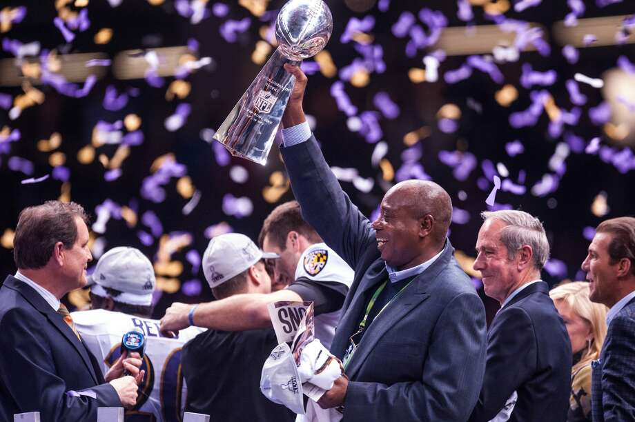 NEW ORLEANS, LA - FEBRUARY 03:  General manger Ozzie Newsome Jr. of the Baltimore Ravens holds the Vince Lombardi Trophy in the air after the Baltimore Ravens defeated the San Francisco 49ers to win Super Bowl XLVII on February 3, 2013 in New Orleans, Louisiana.  (Photo by Rob Tringali/SportsChrome/Getty Images) Photo: Rob Tringali/Getty Images