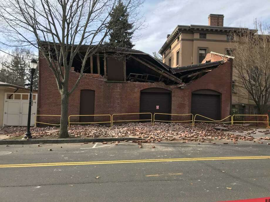 A partially collapsed building on Sachem Street. Photo: Brian Zahn/Hearst Connecticut Media