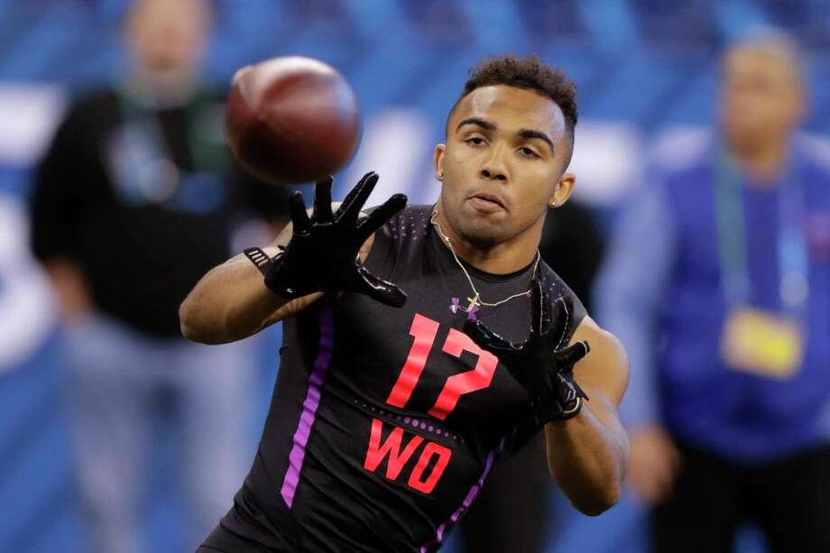 Texas A&M wide receiver Christian Kirk runs a drill at the NFL football scouting combine in Indianapolis, Saturday, March 3, 2018. (AP Photo/Michael Conroy) Photo: Michael Conroy, Associated Press / Copyright 2018 The Associated Press. All rights reserved.