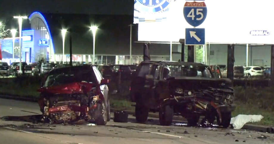 An Uber driver's car slammed into a stalled car on a Gulf Freeway feeder road around 10 p.m. Friday night, police said. The Uber driver's car pushed the stalled car into its male owner, ran him over and he died on scene. Photo: Metro Video