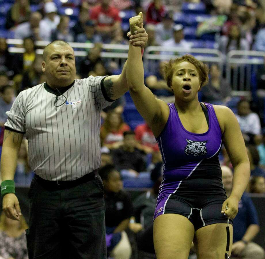 Eloni Sowell of Humble reacts after winning the Class 5A girls 185-pound title during the UIL State Wrestling Championships at the Berry Center, Saturday, Feb. 24, 2018, in Cypress. Photo: Jason Fochtman, Staff Photographer / © 2018 Houston Chronicle