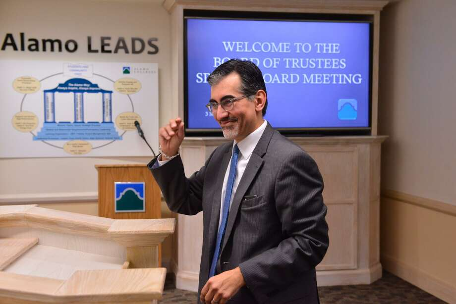 New Alamo Colleges Chancellor Dr. Mike Flores speaks after trustees voted to confirm him as the district's new chancellor. Flores, the first Chicano permanent chancellor, will take over after Bruce Leslie retires in September. Photo: Robin Jerstad, Freelance / San Antonio Express News