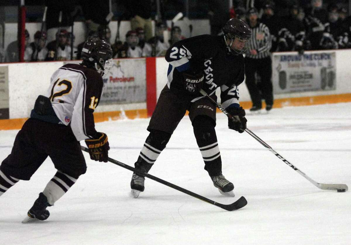 Action from the SCC-SWC Division III boys hockey final between Sheehan and Brookfield-Bethel-Danbury Saturday