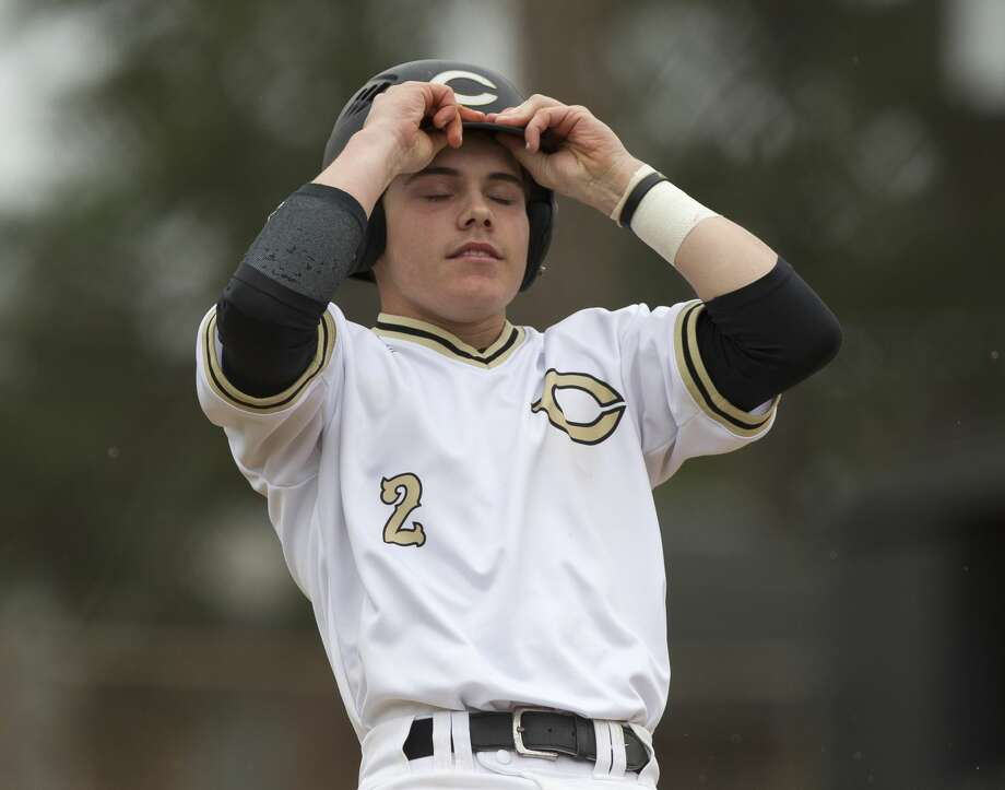 Tyler Linneweber #2 of Conroe reacts after hitting a ground ball to end the sixth inning of a high school baseball game during the Ferrell Classic at Conroe High School, Saturday, March 3, 2018, in Conroe. Photo: Jason Fochtman/Houston Chronicle