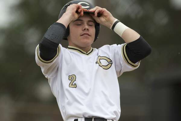 Tyler Linneweber #2 of Conroe reacts after hitting a ground ball to end the sixth inning of a high school baseball game during the Ferrell Classic at Conroe High School, Saturday, March 3, 2018, in Conroe.