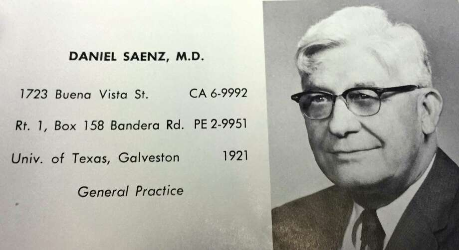 This is the listing for Daniel Saenz, M.D., in the Bexar County Medical Society's 1966 directory. Saenz practiced medicine for more than 50 years in San Antonio, from the late 1920s into the early '70s. Photo: Courtesy /Bexar County Medical Society