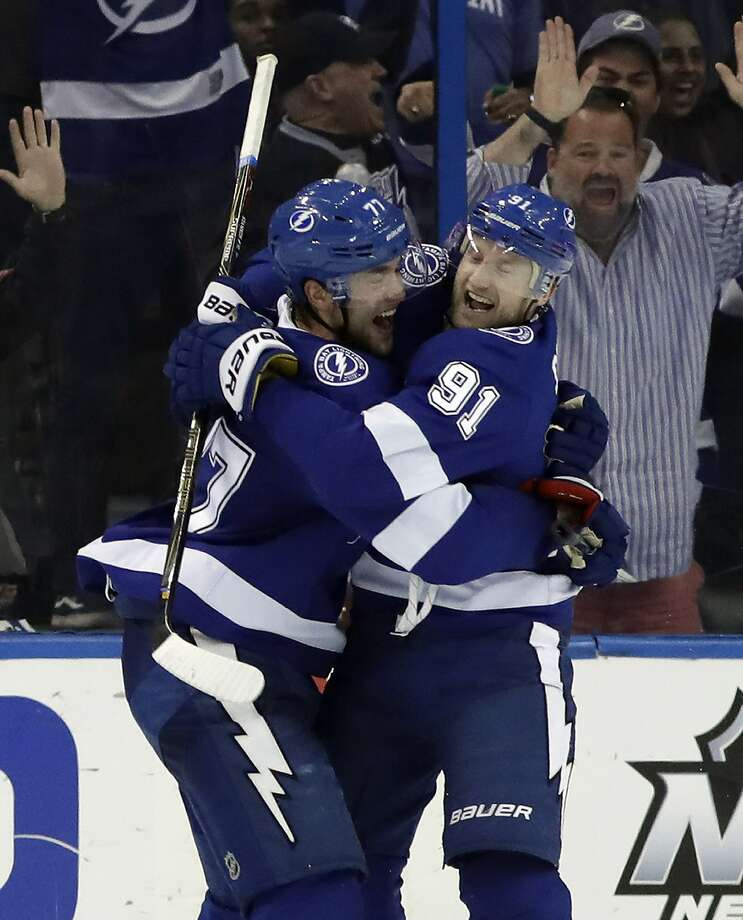 Tampa Bay's Victor Hedman (left) and Steven Stamkos combined for four goals and five assists. Photo: Chris O'Meara, Associated Press