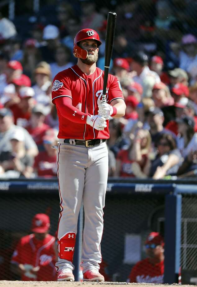 Bryce Harper struck out twice and walked once Saturday. Photo: Jeff Roberson, Associated Press