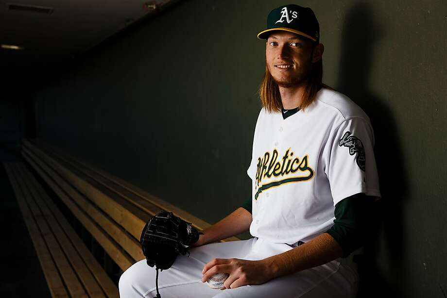 A.J. Puk #30 of the Oakland Athletics poses for a portrait during photo day at HoHoKam Stadium on February 22, 2018 in Mesa, Arizona. Photo: Getty Images