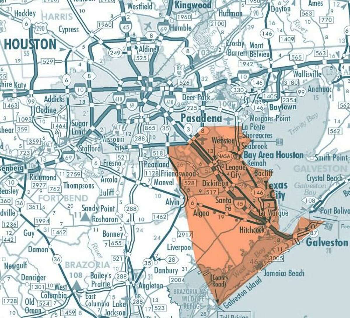 The 4B Disaster Response Network covers an area in southeast Harris County and Galveston County.