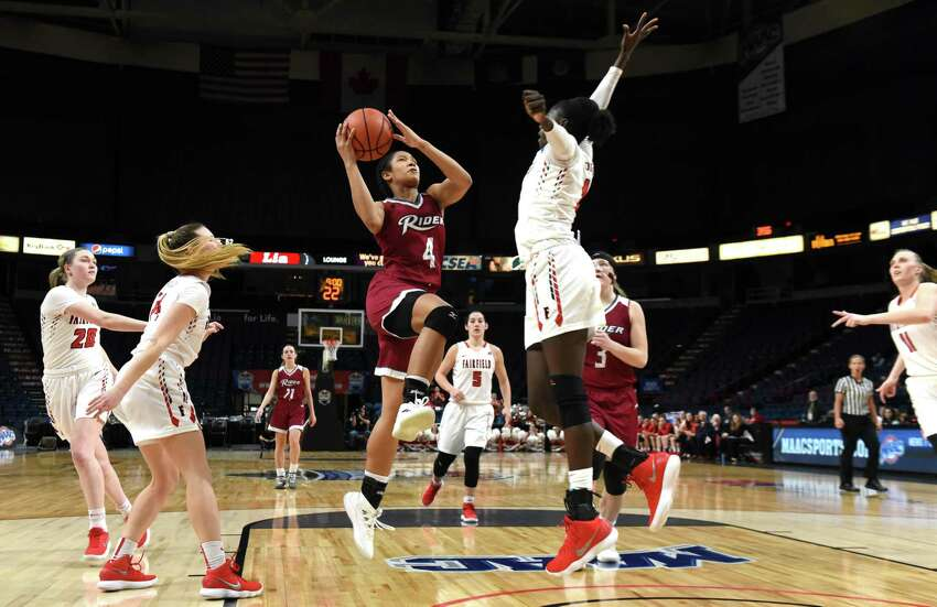 Rider University guard Stella Johnson makes a shot against airfield University late in the second half during MAAC championship basketball quarterfinals on Saturday, March 3, 2018, at the Times Union Center in Albany, N.Y. Rider won the game. (Will Waldron/Times Union)