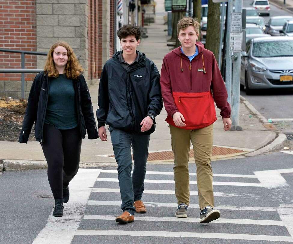 Ballston Spa High School students, from left, Izzy Rutkey,17, Joe McDonald, 18, and Joseph Vesic, 17, Thursday March 1, 2018 in Ballston Spa, NY. (John Carl D'Annibale/Times Union)
