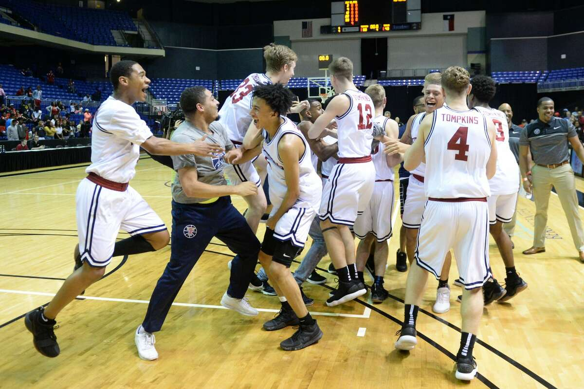The Tompkins Falcons celebrate after beating the Alief Taylor Lions to win the 6A Region III championship on Saturday, March 3, 2018 at the Berry Center, Cypress, TX. They open state tournament Friday against South Garland at the Alamodome in San Antonio.