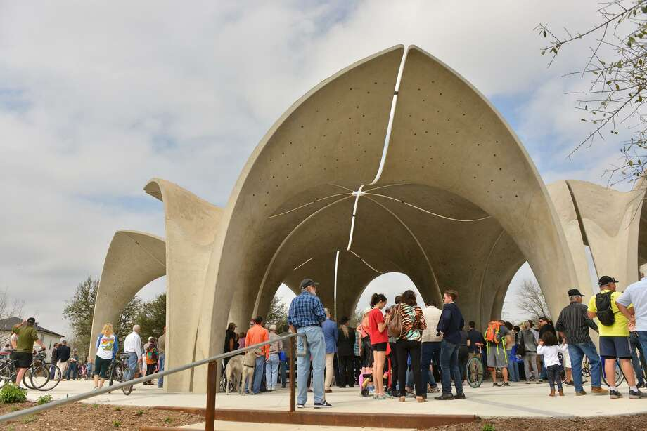 A crowd gathered in the main pavilion during the grand opening of Confluence Park in 2018. The park also has an education building and paths that lead to the San Antonio River's Mission Reach. Photo: Robin Jerstad /Contributor