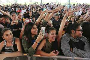 Fans get into a performance by Los Angeles-based singer and rapper Doja Cat at the inaugural Botánica music festival kicks off its first year at Six Flags Fiesta Texas on Saturday, Mar. 3, 2018. The inaugural music event offered 30 music acts from student Mariachi bands to headliners such as Logic and Alessia Cara. Also in the mix was local rapper Blake who took the stage to roaring approval from fans.