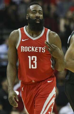 7eb417c20d84  p Houston Rockets guard James Harden (13) celebrates a three-pointer