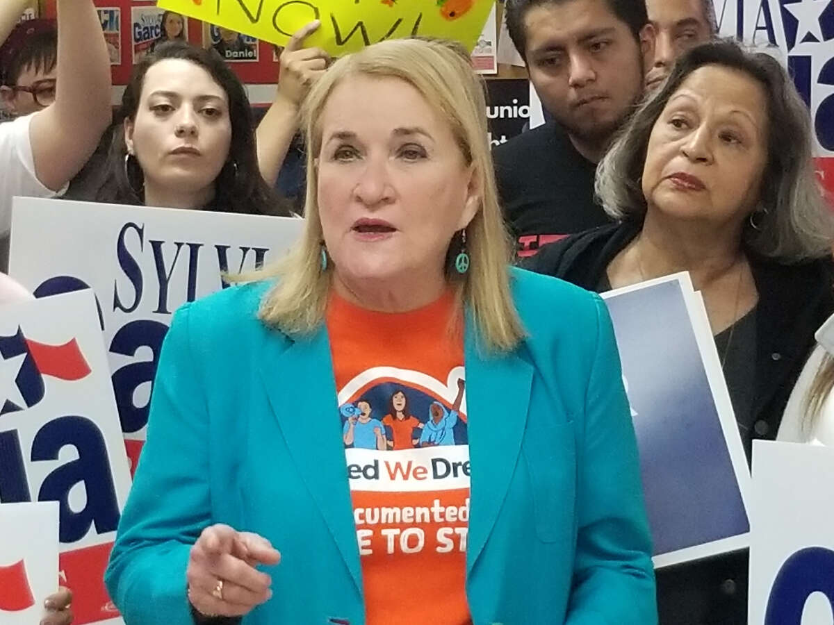 State Sen. Sylvia Garcia, D-Houston, speaks during a press conference Saturday in favor of the Deferred Action for Childhood Arrivals Act.