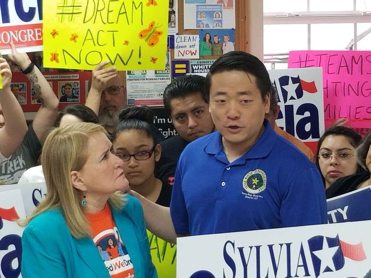 State Rep. Gene Wu, D-Houston, right, speaks during a press conference Saturday in favor of DACA and Sylvia Garcia, left, in her bid for U.S. Congress.
