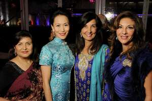 From left: Shahnaz Wallany, Y. Ping Sun, co-chair Sultana Mangalji and Neda Ladjevardian at the 2018 Asia Society's Tiger Ball Saturday March 03,2018. (Dave Rossman Photo)