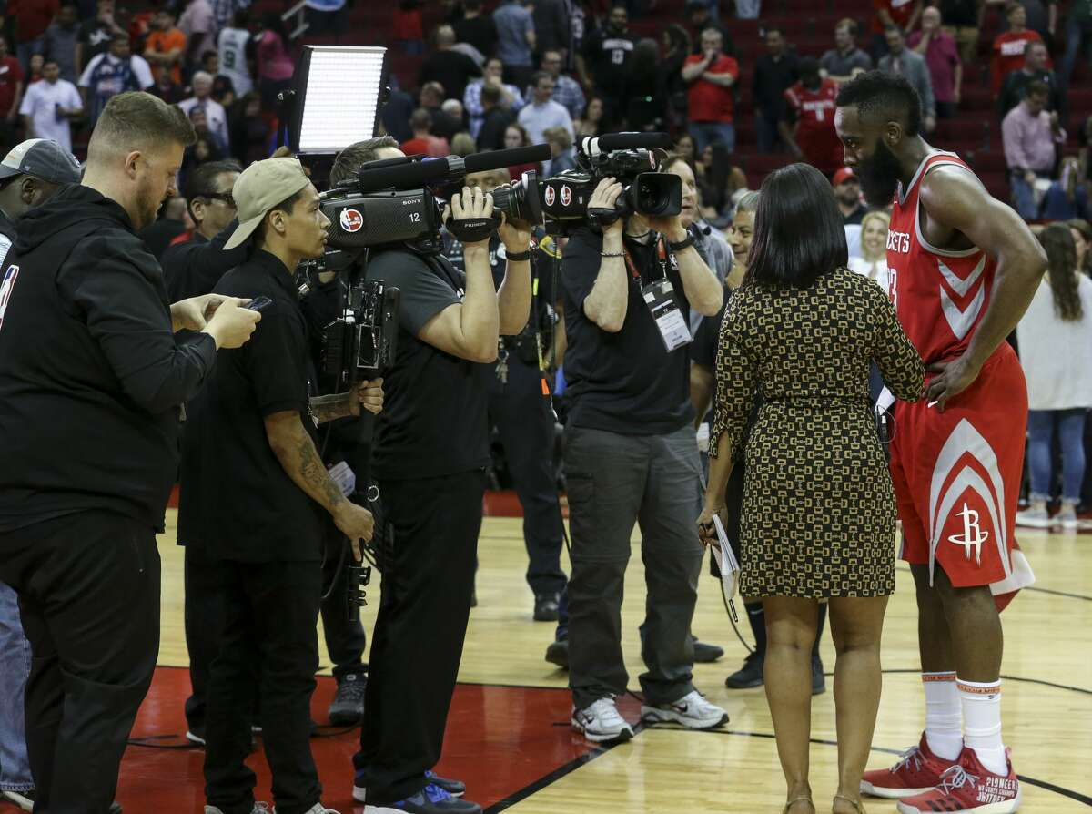 Houston Rockets guard James Harden (13) is interviewed after winning the NBA game against the Boston Celtics at the Toyota Center on Saturday, March 3, 2018, in Houston. The Houston Rockets defeated the against the Boston Celtics 123-120. ( Yi-Chin Lee / Houston Chronicle )
