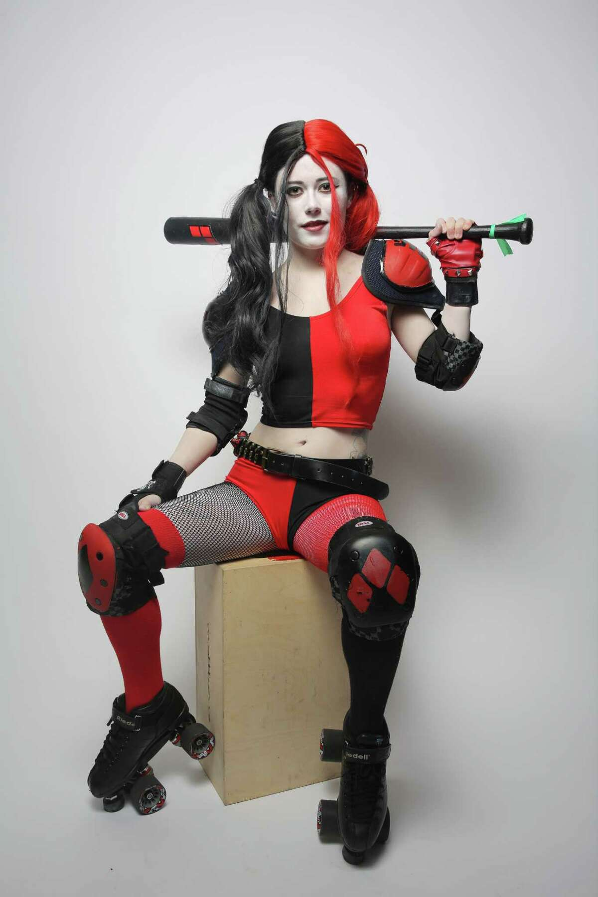 Nessa Sweeny, of Seattle, poses for a portrait as Harley Quinn at Emerald City Comic Con, Friday, March 2, 2018.