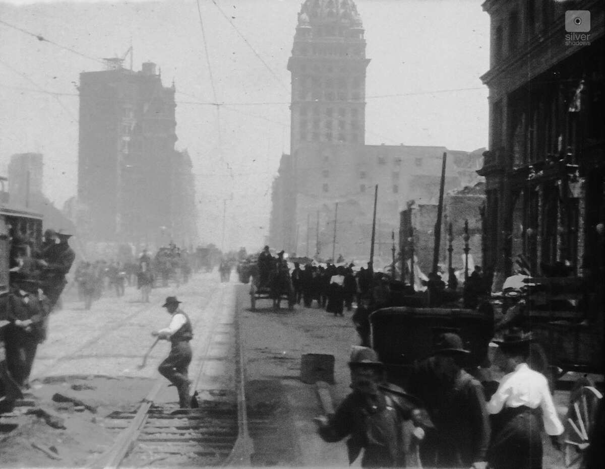 Film still from long-lost footage the Miles Brothers film studio captured of San Francisco two weeks after the 1906 earthquake.