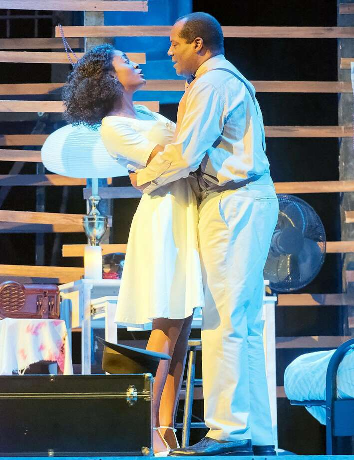 "Jemier Jenkins as Blanche DuBois and Fred Pitt as Mitch in African-American Shakespeare Company's ""Streetcar Named Desire."" Photo: Lance Huntley, African-American Shakespeare Company"