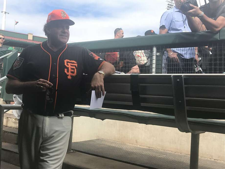 Chris Berman suitsup in a San Francisco Giants uniform to be a guest manager on March 4, 2018. Photo: SF Chronicle, John Shea