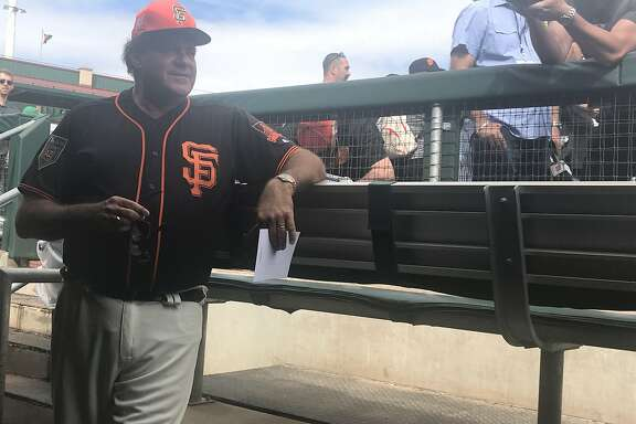 Chris Berman suitsup in a San Francisco Giants uniform to be a guest manager on March 4, 2018.
