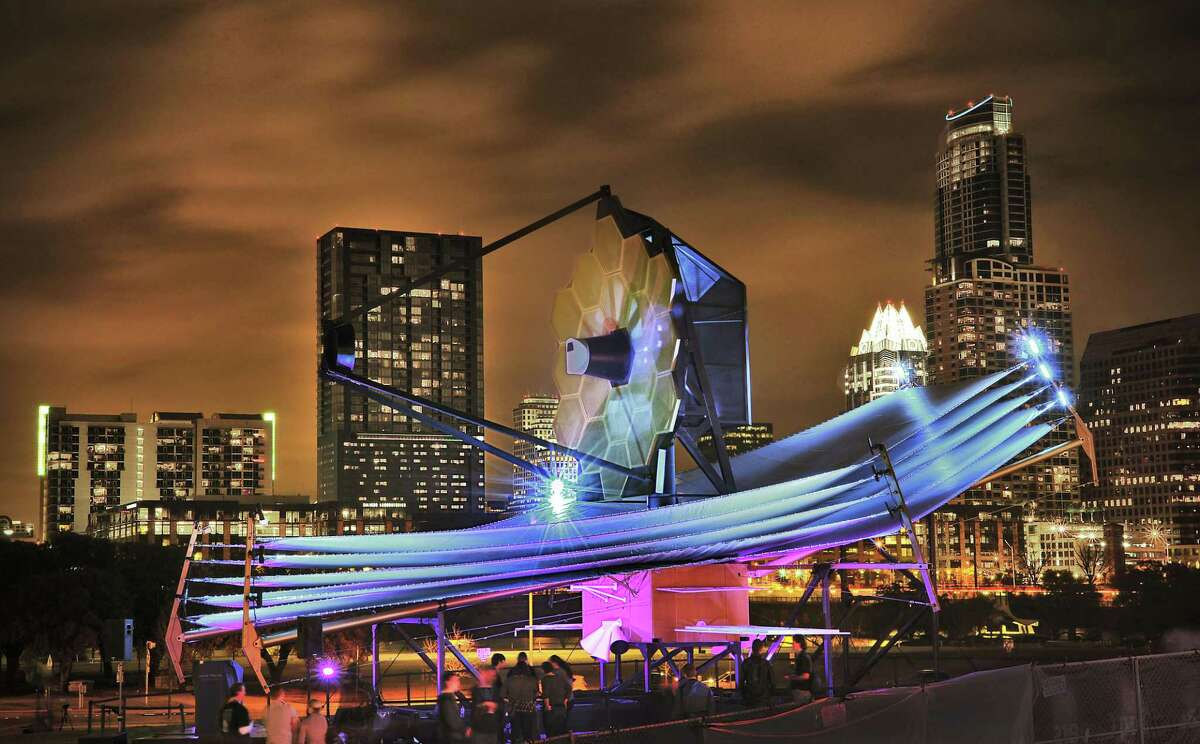 A full-size model of the James Webb Space Telescope seen in Austin during the South by Southwest festival in 2013.