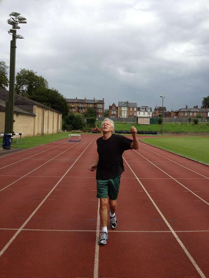 Scott Ostler at the site of Roger Bannister's record-breaking run in August, 2012. Photo: Scott Ostler, The Chronicle