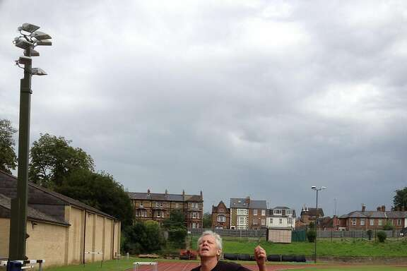 Scott Ostler at the site of Roger Bannister's record-breaking run in August, 2012.