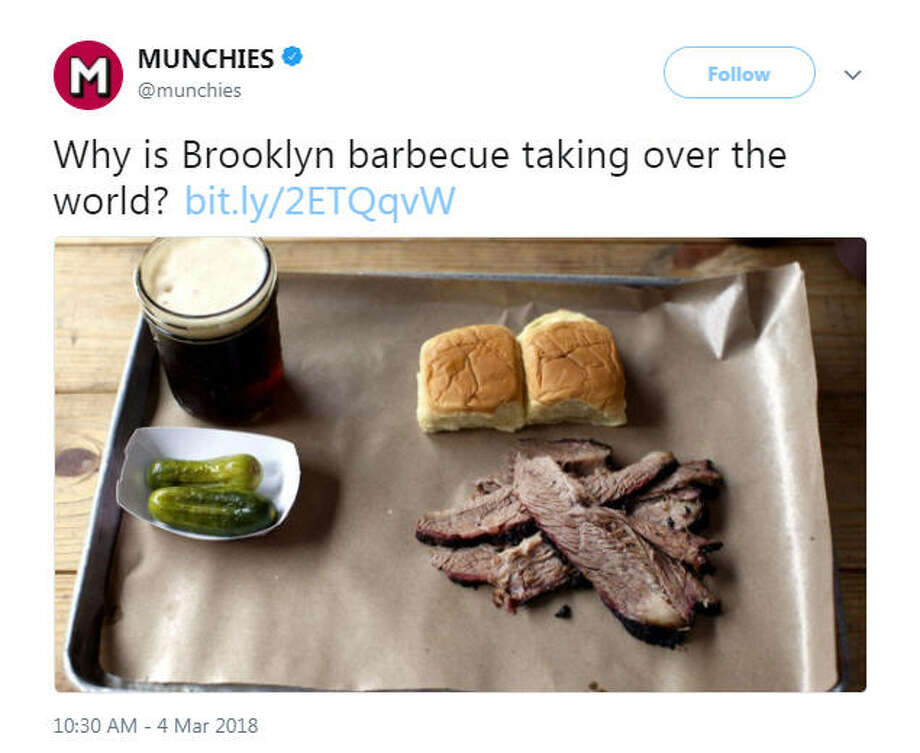 """""""Why is Brooklyn barbecue taking over the world? http://bit.ly/2ETQqvW""""Source: Twitter Photo: Twitter"""