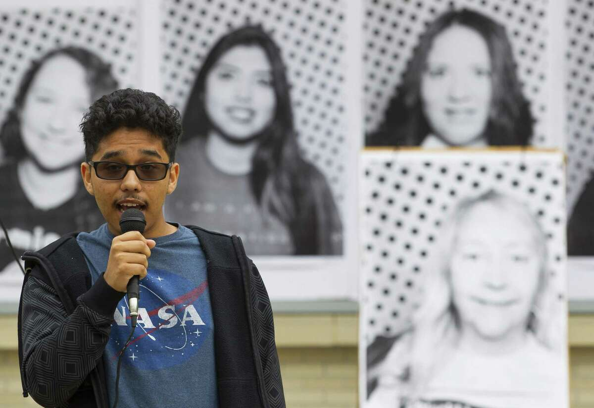 Hector Angeles, 18, a freshman at the University of Houston and a DACA recipient, talks about his experience seeking an education during an event at the University of Houston.