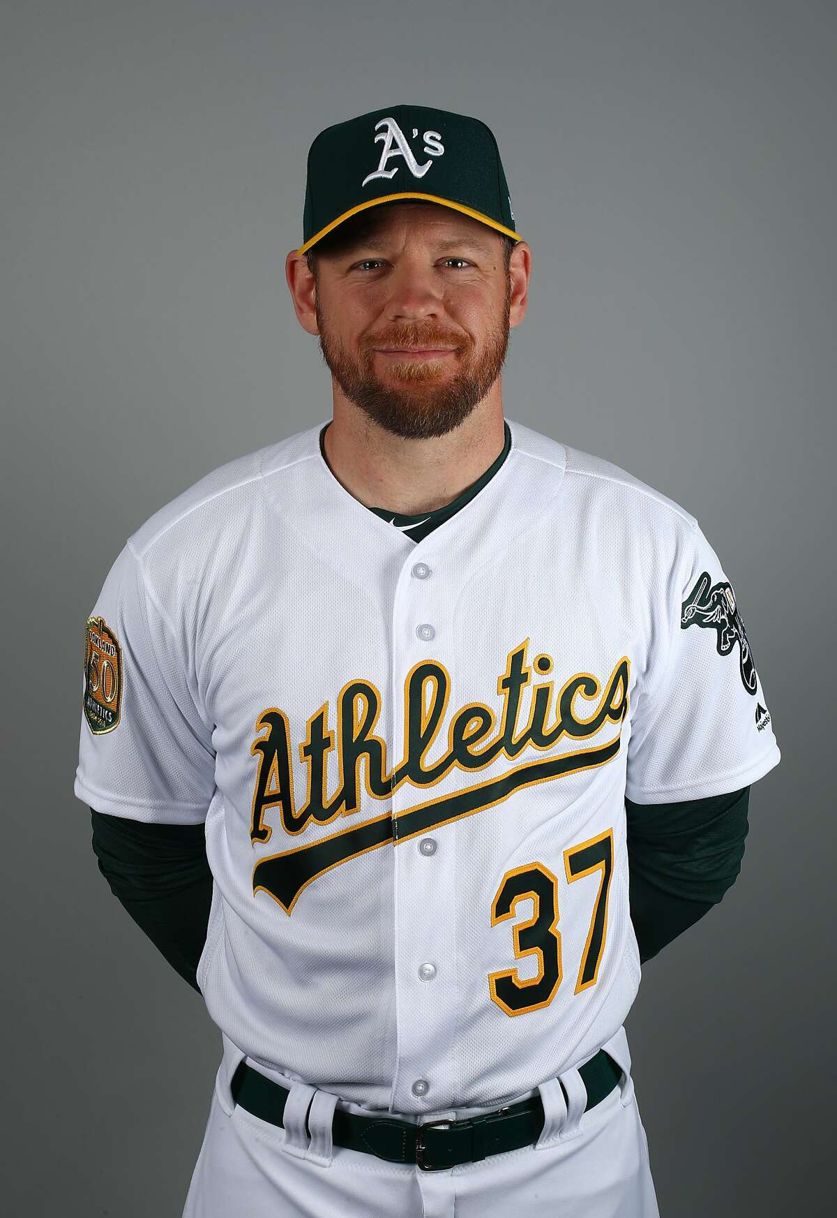 This is a 2018 photo of Brandon Moss of the Oakland Athletics baseball team. This image reflects the 2018 active roster as of Feb. 22, when this image was taken. (AP Photo/Ben Margot)