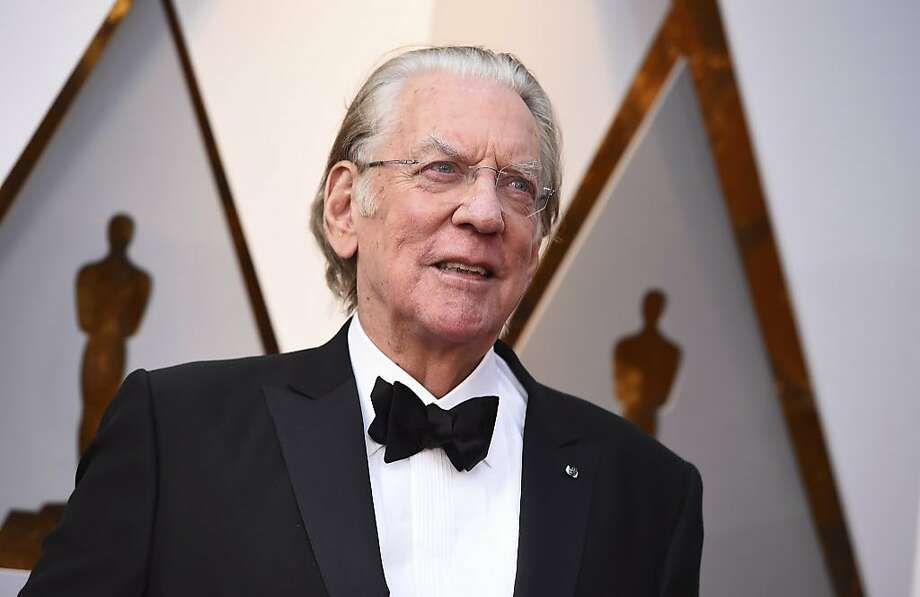 Donald Sutherland arrives at the Oscars on Sunday, March 4, 2018, at the Dolby Theatre in Los Angeles. Photo: Jordan Strauss, Associated Press
