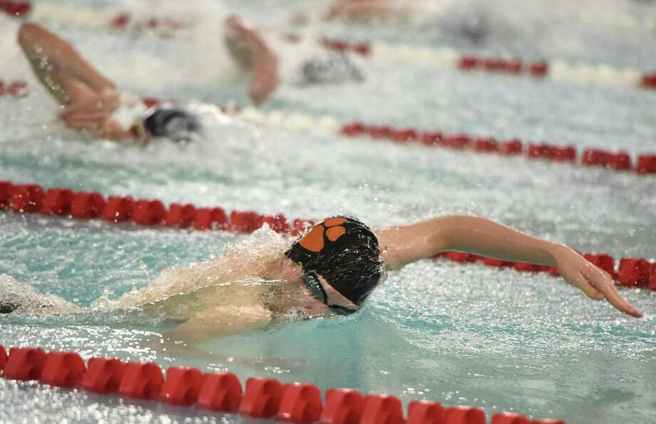 First-place finisher Kieran Smith, of Ridgefield, competes in his record-setting run of the 100 freestyle at the FCIAC high school boys swimming championships at Greenwich High School in Greenwich, Conn. Sunday, March 4, 2018. Photo: Tyler Sizemore / Hearst Connecticut Media / Greenwich Time