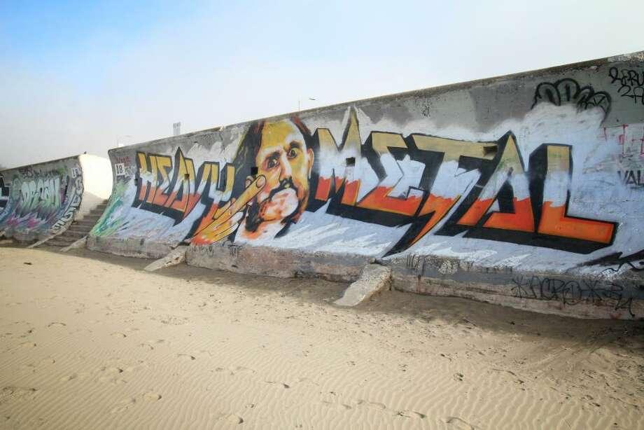A mural of the late Motörhead frontman Lemmy Kilmister along the seawall at Ocean Beach in San Francisco.